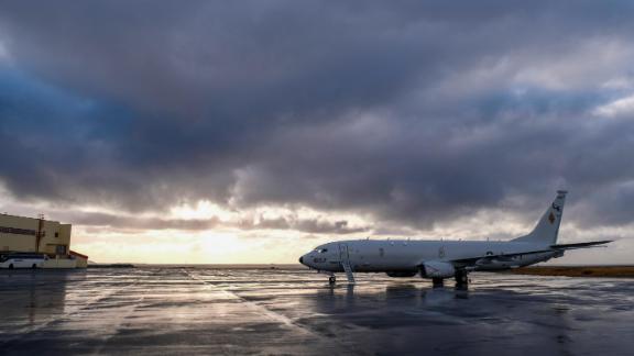 A US Navy P-8 Poseidon surveillance and submarine aircraft sits at Keflavik International Airport ahead of NATO exercises.