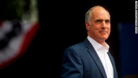 In this September 21, 2018, file photo, Sen. Bob Casey addresses supporters at a campaign rally for statewide Democratic candidates in Philadelphia.
