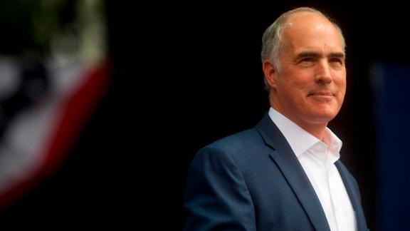 Sen. Bob Casey (D- Pa.) addresses supporters before former President Barack Obama speaks during a campaign rally for statewide Democratic candidates on September 21, 2018 in Philadelphia, Pennsylvania.  Midterm election day is November 6th.  (Photo by Mark Makela/Getty Images)