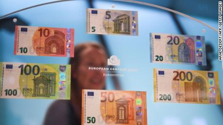 Euro banknotes including the new versions of the 100- and 200-euro banknote are pictured on September 17, 2018, in Frankfurt, western Germany.