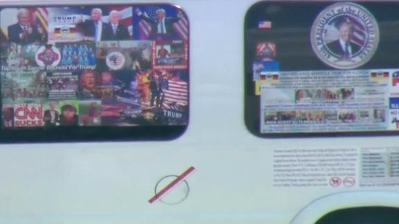 Video from CNN affiliate WPLG shows the exterior of the van that authorities confiscated after Sayoc
