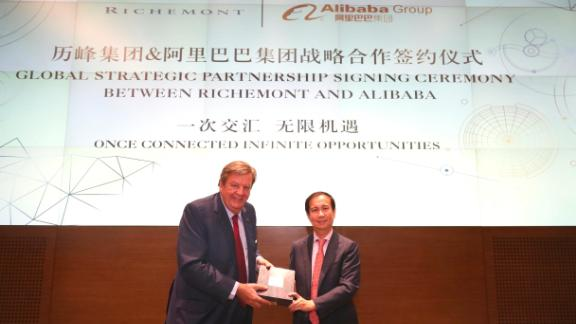Richemont Chairman Johann Rupert (left) and Alibaba CEO Daniel Zhang (right) at the signing ceremony in Hangzhou, China.
