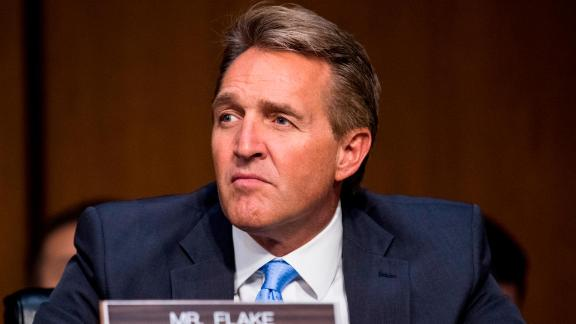 "UNITED STATES - OCTOBER 18: Sen. Jeff Flake, R-Ariz., listens as Attorney General Jeff Sessions testifies during the Senate Judiciary Committee hearing on Full committee hearing on ""Oversight of the U.S. Department of Justice"" on Wednesday, Oct. 18, 2017. (Photo By Bill Clark/CQ Roll Call)"