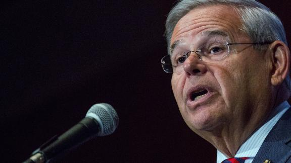 SOUTH ORANGE, NJ - AUGUST 18:  U.S. Senator Bob Menendez (D-NJ) gives a speech announcing he will not support President Obama's Iran nuclear deal at Seton Hall University on August 18, 2015 in South Orange, New Jersey. Congress has until September 17 to approve or reject support of the multinational accord.  (Photo by Andrew Burton/Getty Images)
