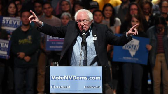 Sanders speaks during a rally for Nevada Democratic candidates