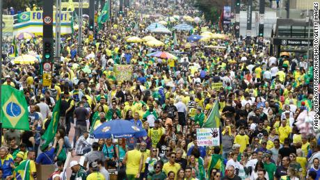 Supporters of Jair Bolsonaro demonstrated on Sunday in Sao Paulo.