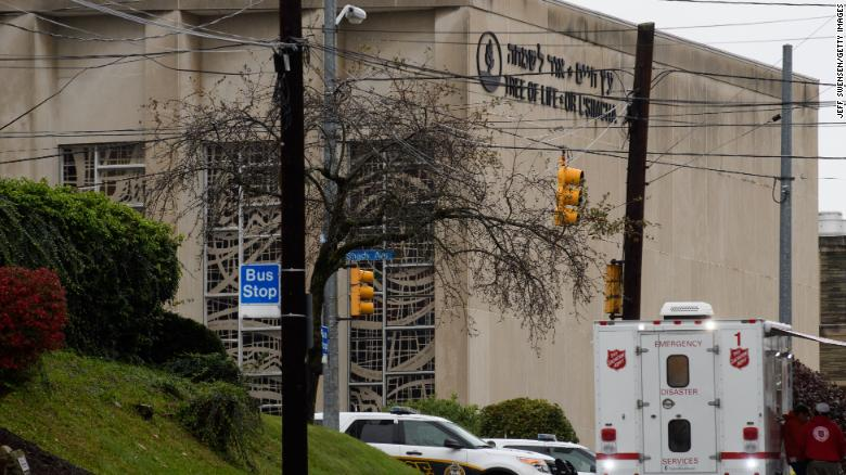 Tree of Life Synagogue in the Squirrel Hill neighborhood following the shoooting.