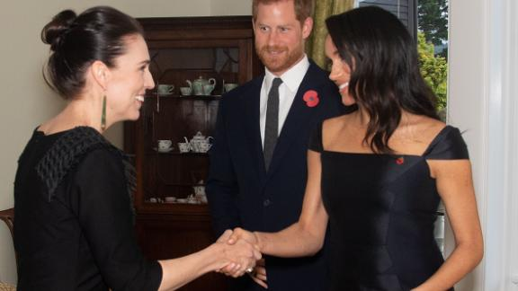 Meghan and Harry meet with Prime Minister Jacinda Ardern.