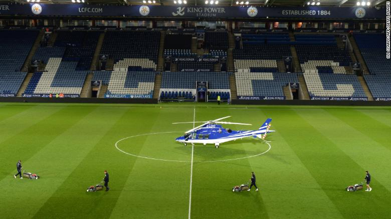 This file image shows the helicopter reportedly owned by Vichai Srivaddhanaprabha.