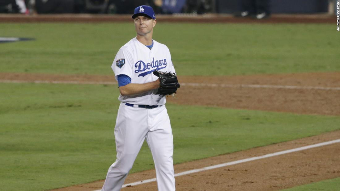 221839c1bb3 Pitcher Ryan Madson of the Dodgers leaves the game after giving up a home  run to