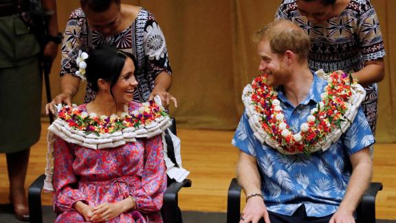 Harry and Meghan visit the University of the South Pacific in Suva, Fiji, on Wednesday, October 24.