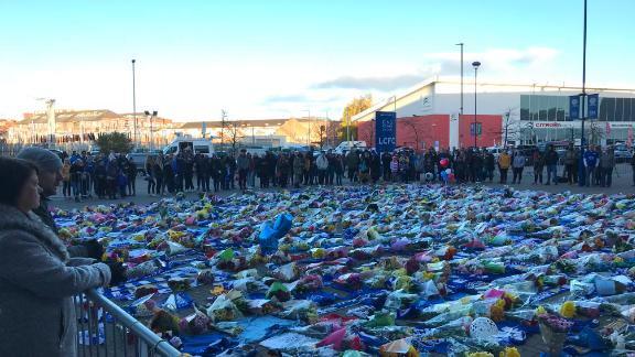 Tributes laid outside the King Power Stadium in Leicester.