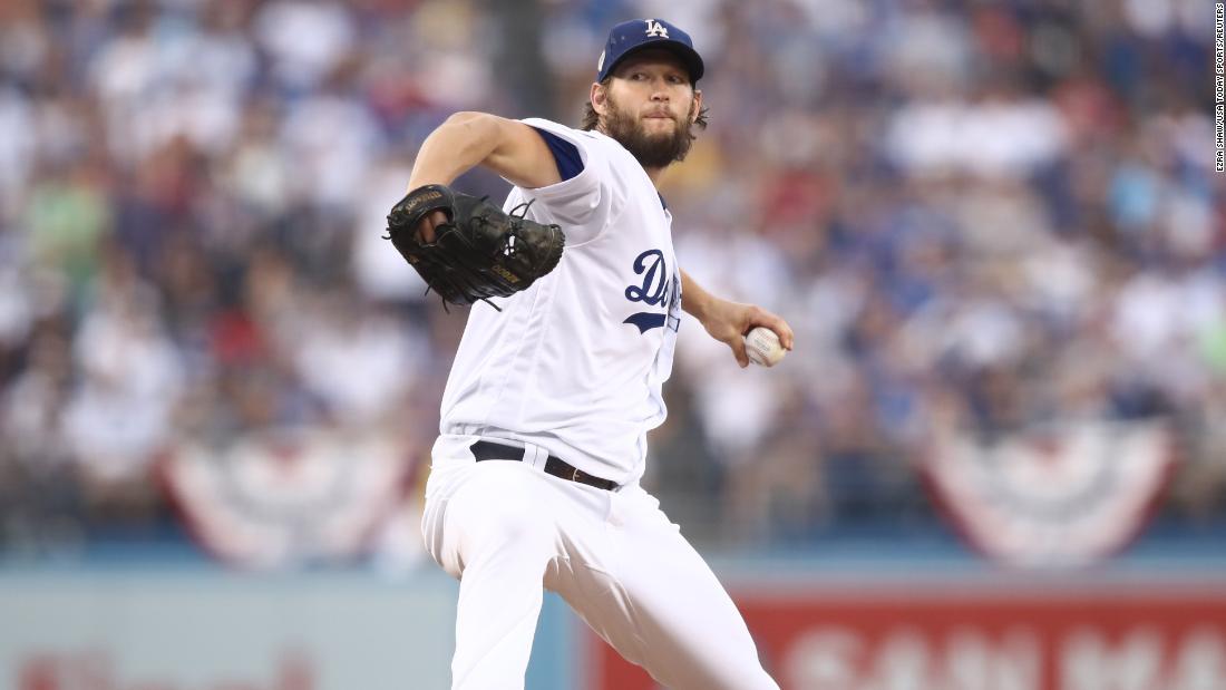 Dodgers pitcher Clayton Kershaw throws a pitch against Boston in the first inning of Game 5.
