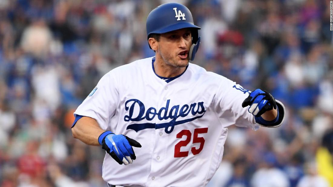 David Freese of the Dodgers celebrates his first-inning home run against the Red Sox in Game 5.<br />