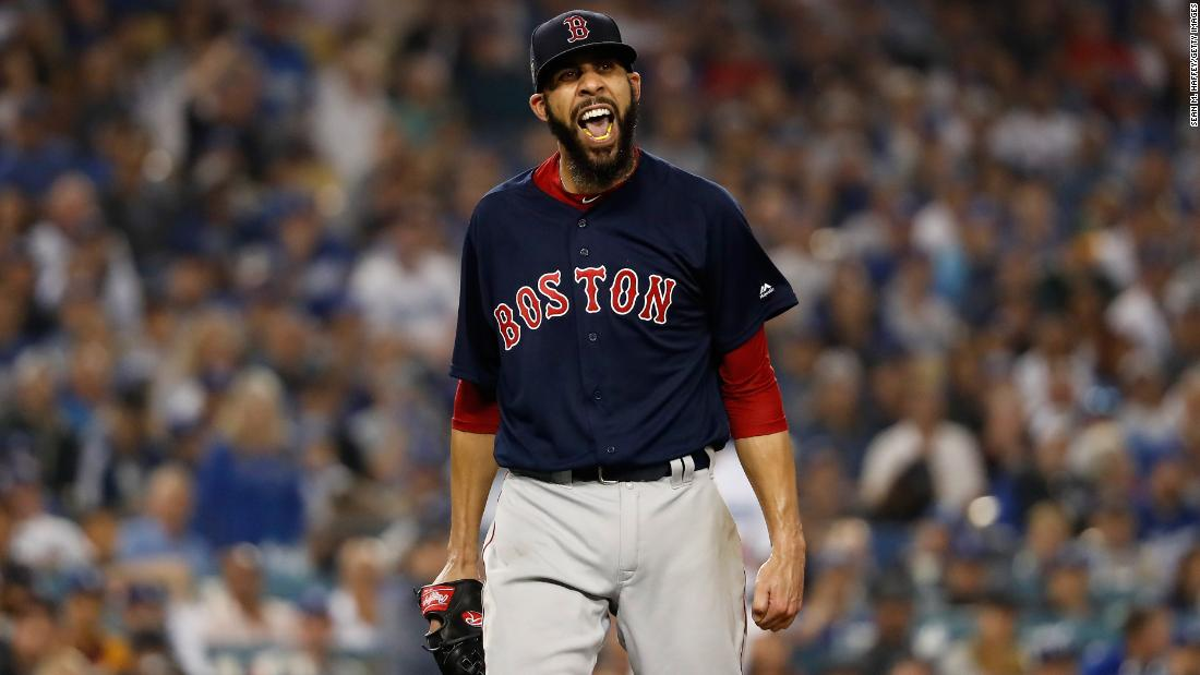 Boston Red Sox pitcher David Price reacts after retiring the side during the seventh inning against the Los Angeles Dodgers in Game 5.