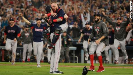 73f63b6834f The Boston Red Sox celebrate after winning the 2018 World Series against  the Los Angeles Dodgers