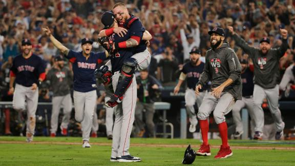 The Boston Red Sox celebrate after winning the 2018 World Series against the Los Angeles Dodgers at Dodger Stadium on Sunday, October 28, in Los Angeles, CA.