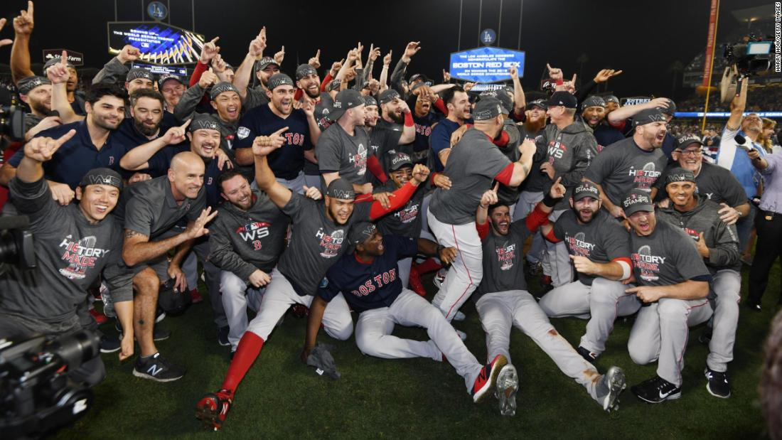 The Boston Red Sox celebrate their World Series victory over the Los Angeles Dodgers. The Red Sox won the deciding game 5-1.