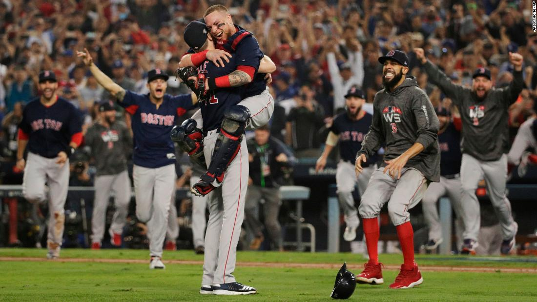 "The Boston Red Sox celebrate after <a href=""https://www.cnn.com/2018/10/28/sport/2018-world-series-red-sox-dodgers-game-5-spt-intl/index.html"" target=""_blank"">winning the World Series</a> on Sunday, October 28. The Red Sox defeated the Los Angeles Dodgers in five games. It's their fourth title in 15 years."