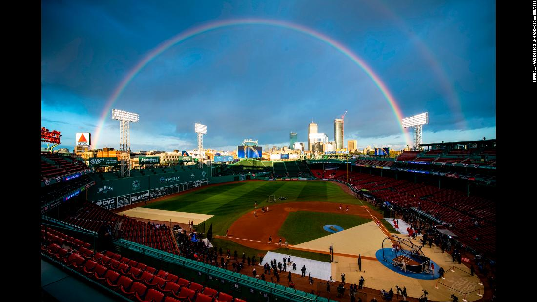 A rainbow forms over Fenway Park before Game 2 of the World Series on Wednesday, October 24.