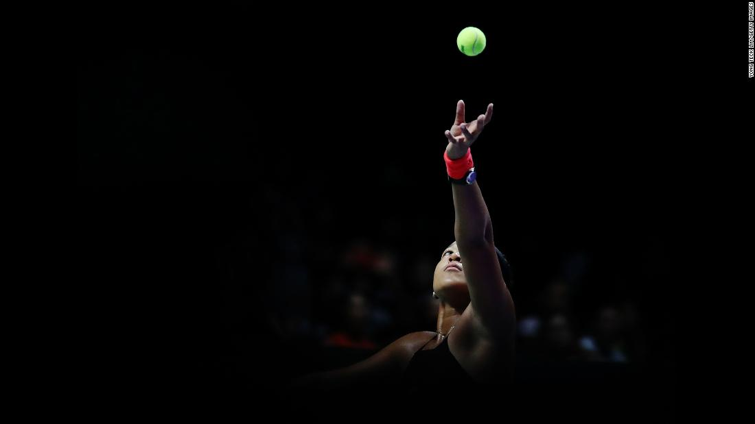 Naomi Osaka serves to Angelique Kerber during the WTA Finals on Wednesday, October 24.