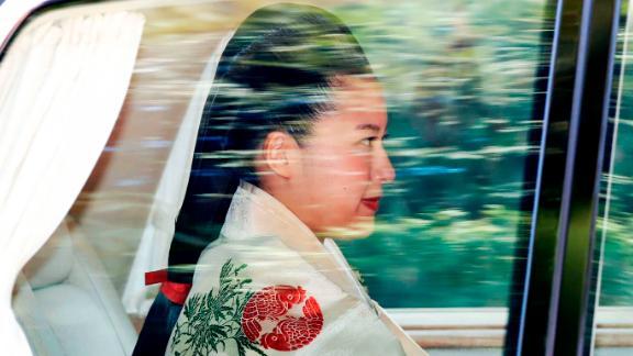 Princess Ayako on her way to her wedding ceremony in Tokyo, Oct. 29, 2018.