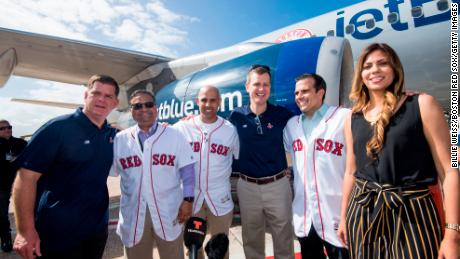 Boston Mayor Marty Walsh, Mayor of Caguas William Miranda Torres, Manager Alex Cora of the Boston Red Sox, Boston Red Sox President and CEO Sam Kennedy, Governor of Puerto Rico Ricardo Rossello, and his wife during a Boston Red Sox hurricane relief trip from Boston, Massachusetts to Caguas, Puerto Rico on January 30, 2018 .