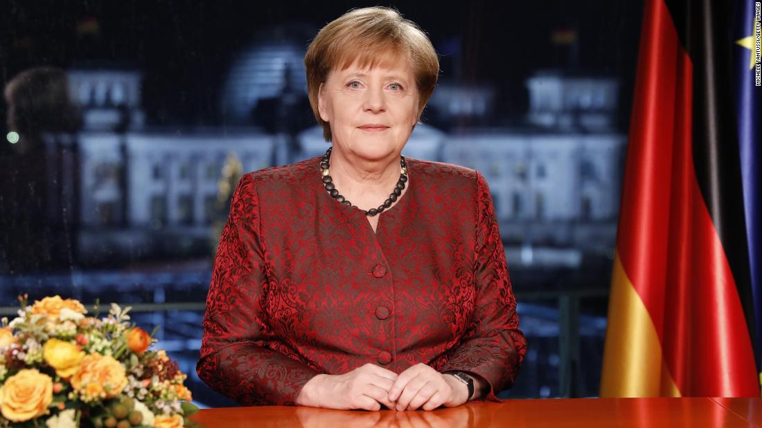 Angela Merkel records her annual televised New Year's address on December 20, 2017 in Berlin.