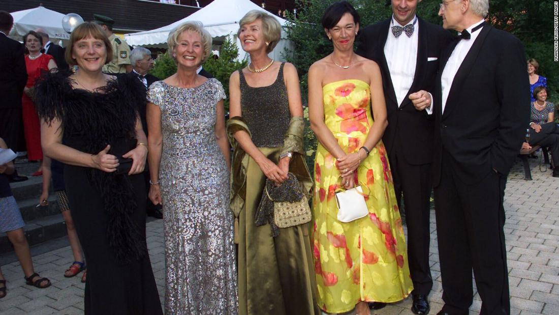 Merkel, left, attends the opening of the Wagner Festival, an annual music festival in Bayreuth, Germany, in 2001.