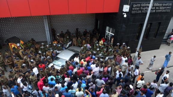 Violence erupted outside a government building in Colombo at the end of October.