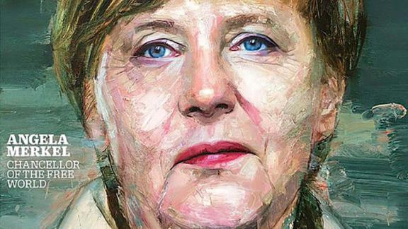 "Merkel was named Time magazine's Person of the Year in 2015. Time Editor-at-Large Karl Vick described her as ""the de factos leader of the European Union"" by virtue of being leader of the EU's largest and most economically powerful member state. Twice that year, he said, the EU had faced ""existential crises"" that Merkel had taken the lead in navigating -- first the Greek debt crisis faced by the eurozone, and then the ongoing migrant crisis."