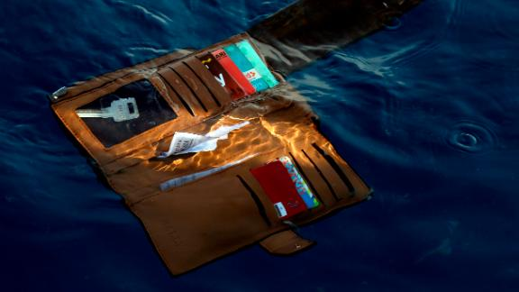 A wallet belonging to a victim of the Lion Air passenger jet that crashed is seen in the waters of Ujung Karawang, West Java, Indonesia on Monday.
