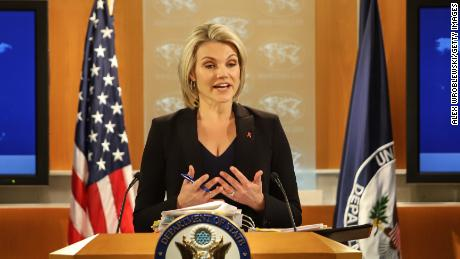 U.S. Department of State spokesperson Heather Nauert speaks in the press briefing room at the Department of State on November 30, 2017 in Washington, DC.