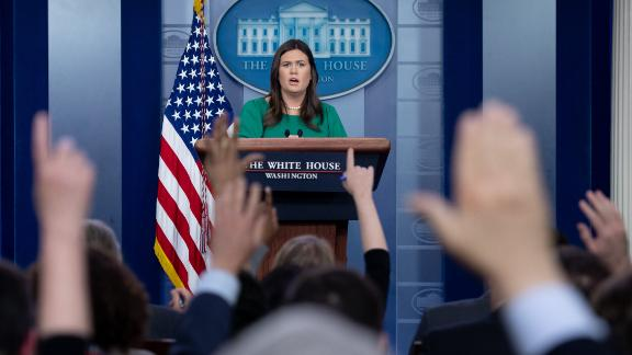 White House Press Secretary Sarah Huckabee Sanders speaks during a press briefing at the White House in Washington, DC, October 29, 2018. (Photo by SAUL LOEB / AFP)        (Photo credit should read SAUL LOEB/AFP/Getty Images)