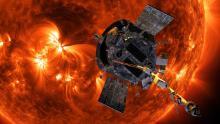 Illustration of Parker Solar Probe approaching the Sun.