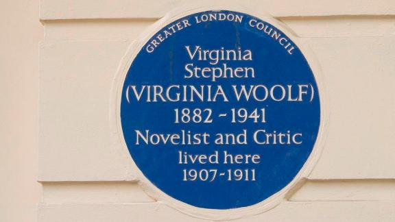 Blue plaque to Virginia Stephen (Virginia Woolf) and Plaque to George Bernard Shaw, 23 Fitzroy Square, Camden, London