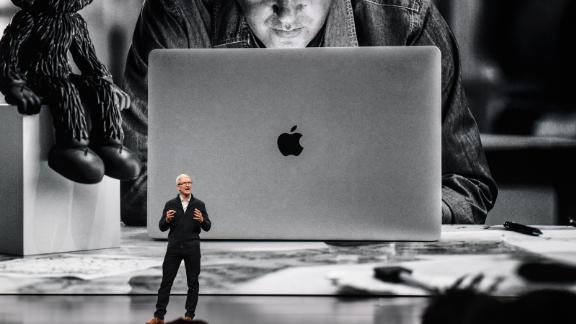 Tim Cook, CEO of Apple unveils a new MacBook Air during a launch event at the Brooklyn Academy of Music on October 30, 2018 in New York City.
