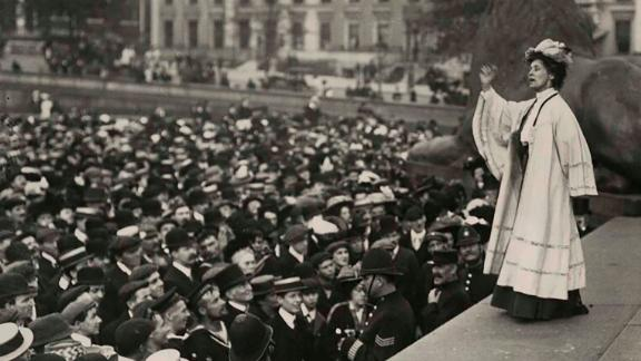 Suffragette leader Emmeline Pankhurst addresses a crowd in Trafalgar Square. A blue plaque adorns the house where she lived in the Holland Park area of London.