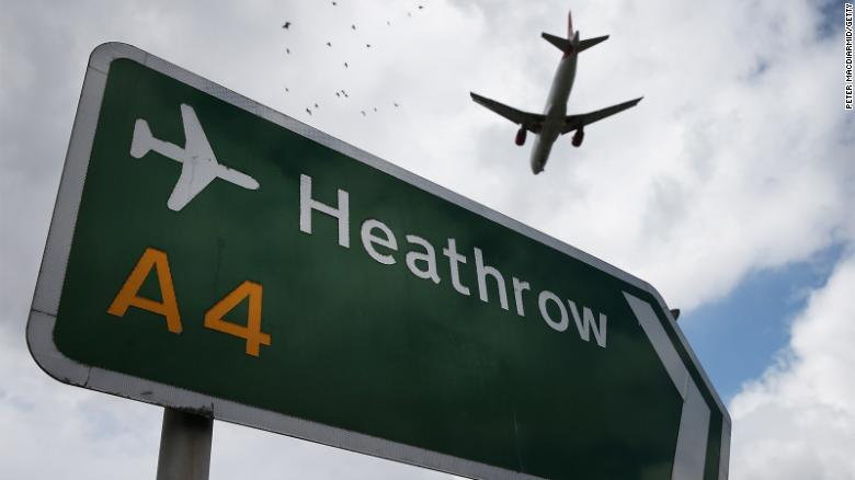 A sign points to London's Heathrow Airport in this file photograph.