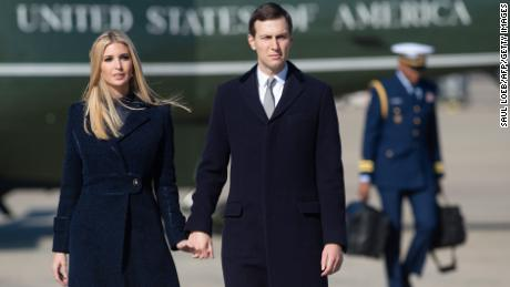 Ivanka Trump and Jared Kushner, White House Senior Advisers, walk to Air Force One prior to departure with US President Donald Trump and first lady Melania Trump from Joint Base Andrews in Maryland, October 30, 2018, as they travel to Pittsburgh, Pennsylvania, following the shooting at the Tree of Life Synagogue. (Photo by SAUL LOEB / AFP, Getty Images)