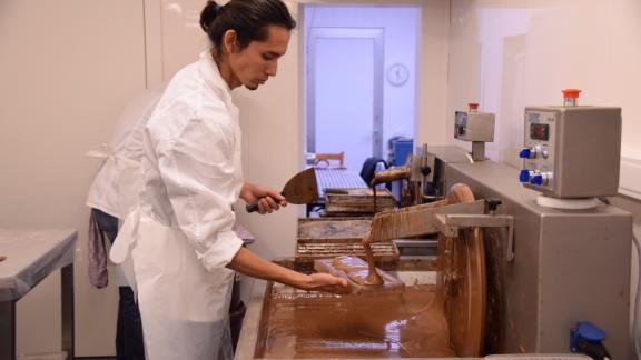 Jorge Salazar Garcia making chocolate.