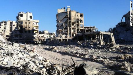 Destroyed buldings in the Khaldiyeh district of Homs on July 28, 2013.
