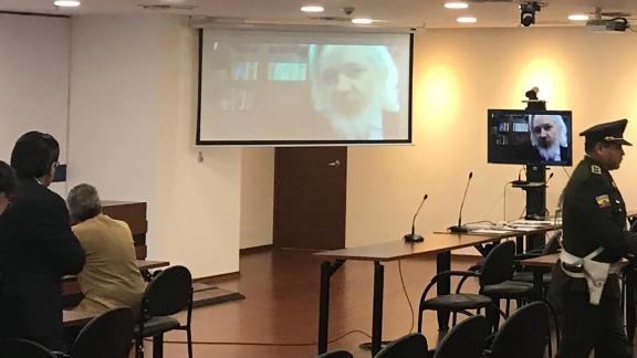 Assange was seen for the first time in months during a hearing via teleconference in Quito, Ecuador, in October 2018. The hearing was then postponed due to translation difficulties.
