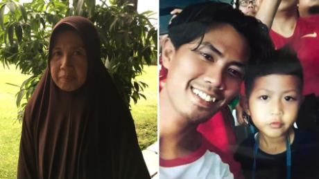 Nuni Hesti (left) lost both her son and grandson in the Lion Air flight 610 disaster.