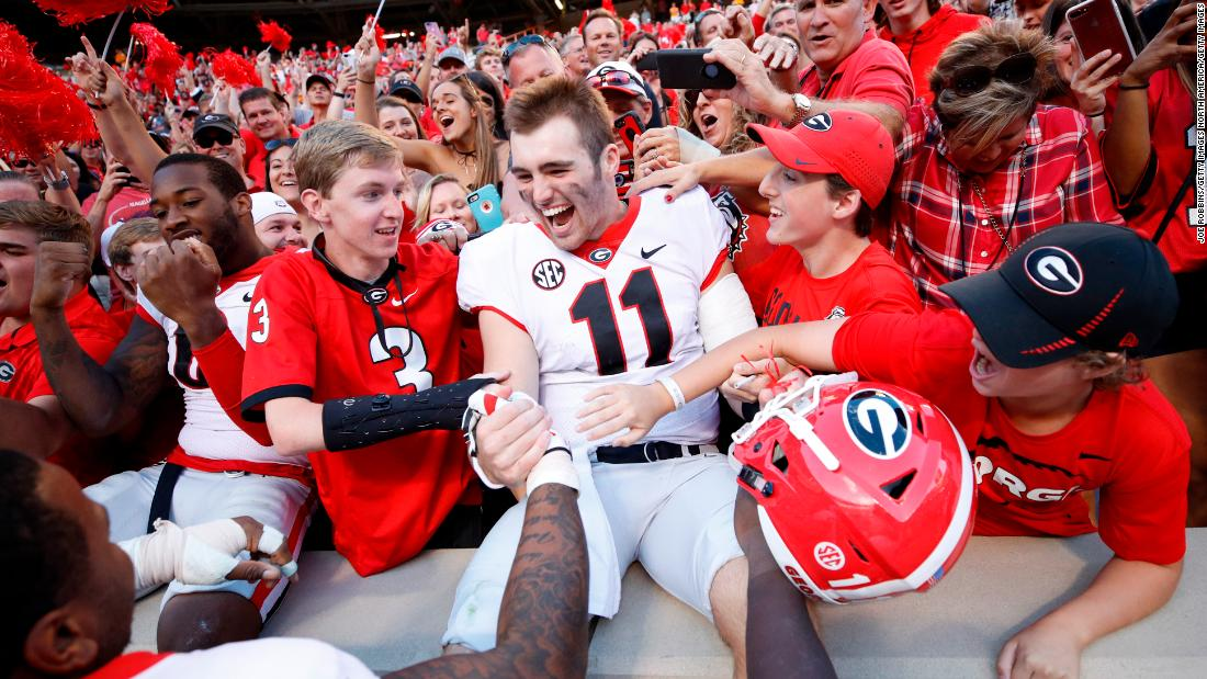 "University of Georgia star quarterback Jake Fromm (#11) led the Bulldogs to the College Football Playoff National Championship game in January. Before his freshman season Fromm gained notoriety from the Netflix docuseries ""QB1: Beyond the Lights,"" which profiled his senior year of high school."