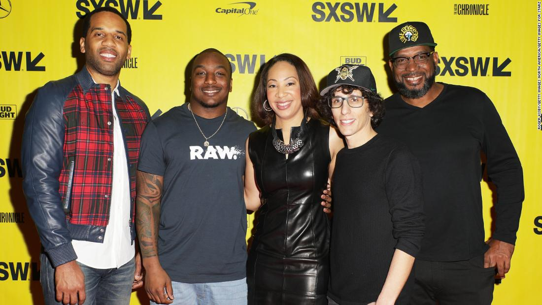 """Warriors of Liberty City"" executive producer Maverick Carter (far left), Cleveland Browns running back Duke Johnson (second from left), moderator Tiffany Greene, director Evan Rosenfeld (second from right) and rapper Luther Campbell attend a pre-screening on March 12, 2018 in Austin, Texas. Campbell, known for his work with 2 Live Crew, is a Liberty City native heavily involved in youth football."