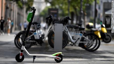 A picture shows an electric scooter of the Lime electric scooter-sharing service in Madrid on September 5, 2018.