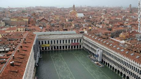 A flooded St. Mark's Square in Venice is seen from above on Monday.