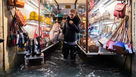 Floodwaters in Venice reached 156 centimeters above average sea level at their peak.