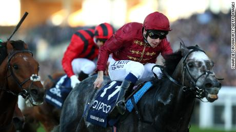 Oisin Murphy rides Roaring Lion to victory in the Queen Elizabeth II Stakes on Champions Day at Ascot.